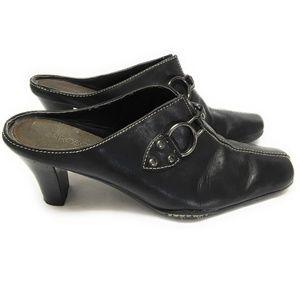 Aerosoles Women's Size 81/2M Black Leather Mules